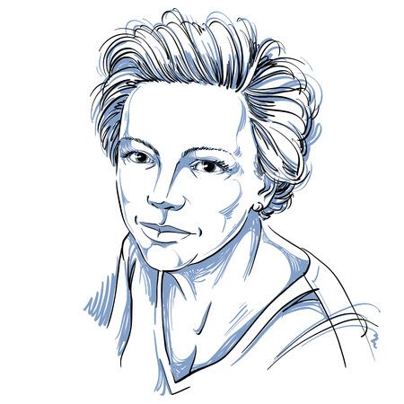 Handgetekende vectorillustratie van mooie zelfverzekerde vrouw. Zwart-wit beeld, vreedzame uitdrukkingen op gezicht van jonge dame.