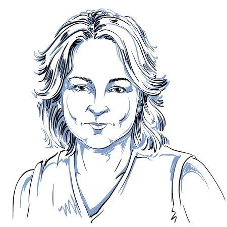 Monochroom vector hand getekende afbeelding, nog steeds jonge vrouw met kort haar. Zwart en wit illustratie van nadenkend meisje. Stock Illustratie