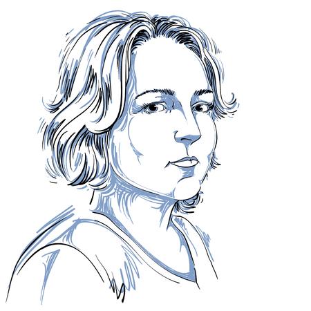 Handgetekende portret van blanke huid peinzende vrouw met kort haar, gezicht emoties thema illustratie. Mooie dame die zich voordeed op witte achtergrond. Kaukasische type persoon. Stock Illustratie