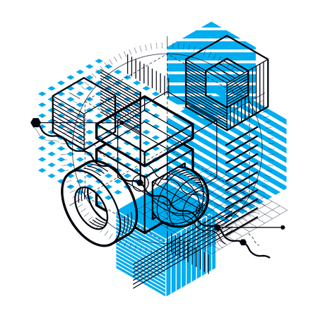 Isometric abstraction with lines and different elements, vector abstract background.