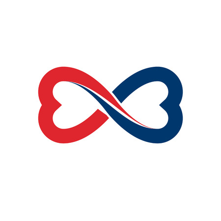 Timeless Loving Couple concept, vector symbol created with infinity sign and male Mars an female Venus signs. Relationship creative idea.