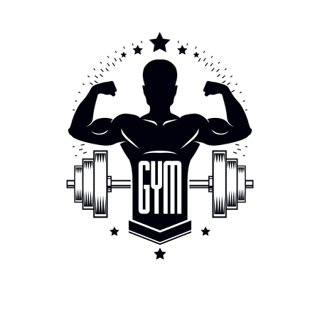 Bodybuilding weightlifting gym logotype sport template, retro stylized vector emblem or badge. With bodybuilder silhouette. Illustration