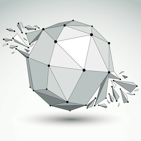3d vector digital wireframe spherical object broken into different particles and refractions, geometric polygonal structure with lines mesh.