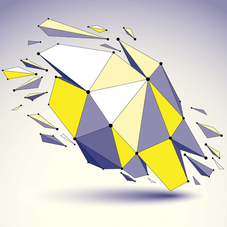 3d vector low poly object with black connected lines and dots, geometric wireframe shape with refractions. Asymmetric perspective shattered form.