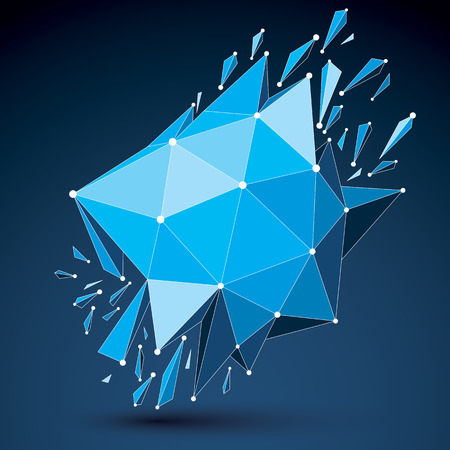 3d vector low poly transform object with connected black and white lines and dots, blue geometric wireframe shape with fractures. Asymmetric perspective shattered form.