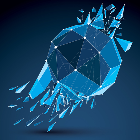 3d vector digital wireframe spherical object broken into different particles and fragments, geometric polygonal structure with white lines mesh. Low poly clear blue shattered shape, lattice form.
