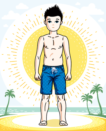 Young teen boy cute nice standing in colorful stylish beach shorts. Vector pretty nice human illustration. Childhood lifestyle cartoon.