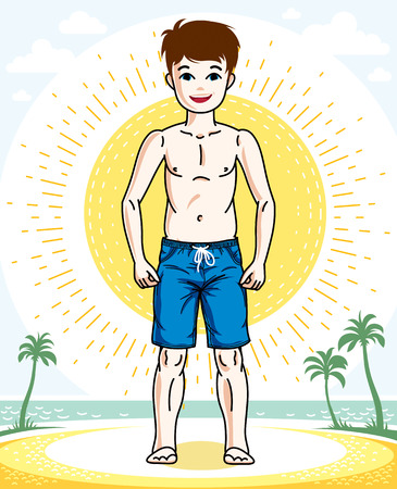 Young teen boy cute nice standing in colorful stylish beach shorts. Vector kid illustration. Fashion and lifestyle theme cartoon.