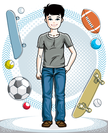 Pretty child boy standing wearing different casual clothes. Vector attractive kid illustration. Fashion and lifestyle theme cartoon. Illustration