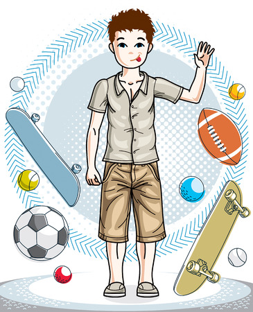 school age: Teen cute little boy standing in stylish casual clothes. Vector beautiful human illustration. Fashion theme clipart. Illustration