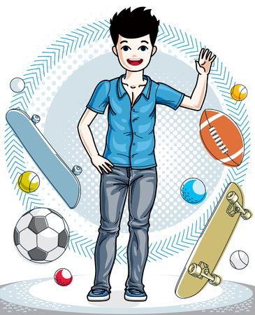Teen cute little boy standing in stylish casual clothes. Vector kid illustration. Fashion and lifestyle theme cartoon.
