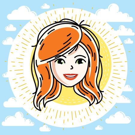 Beautiful women face, human head. Vector redhead character, attractive lady face features.