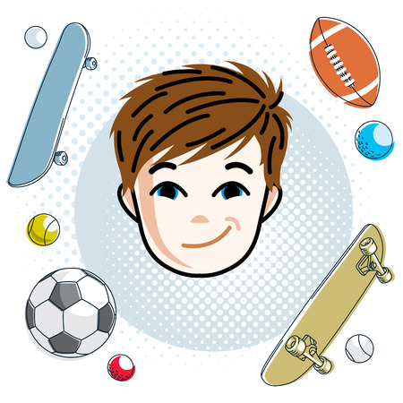Cute boy face, human head. Vector redhead character, smiling toddler face features, sport and entertainment clipart. Illustration