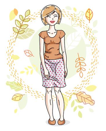 Feliz bastante joven rubia mujer de pie sobre fondo de paisaje de otoño y el uso de ropa casual de moda. Vector carácter.