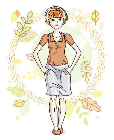 Happy pretty young redhead woman standing on background of autumn landscape and wearing fashionable casual clothes. Vector character. Illustration