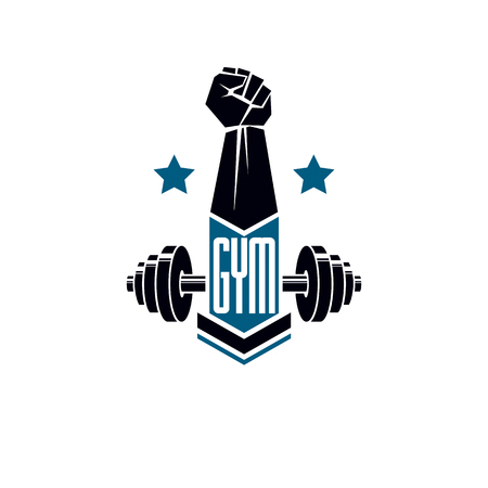 Gym weightlifting and fitness sport club logo, retro style vector emblem. With barbell and strong hand fist.