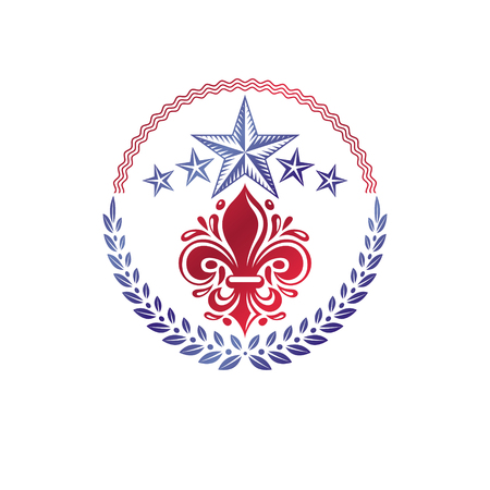 fleur of lis: Retro vintage Insignia created with lily flower and pentagonal stars. Vector product quality idea design element, Fleur-De-Lis.