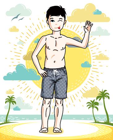 school age: Teen cute little boy standing in colorful stylish beach shorts. Vector beautiful human illustration. Childhood lifestyle clip art.