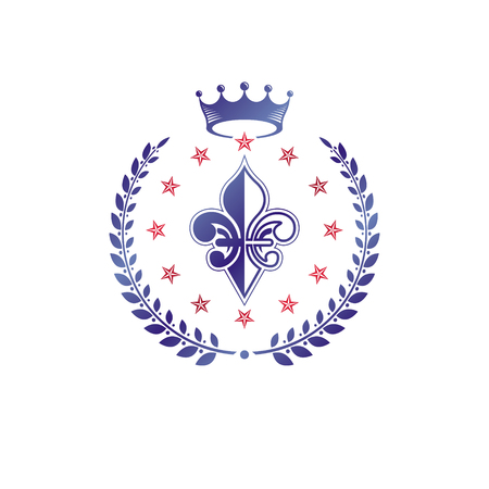Retro vintage Insignia composed using lily flower, imperial crown and pentagonal stars. Vector royal quality idea design element, Fleur-De-Lis.