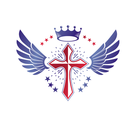 Cross Religious graphic emblem created using imperial crown and angel wings, Christian crucifixion. Heraldic Coat of Arms, vintage vector logo isolated on white background.