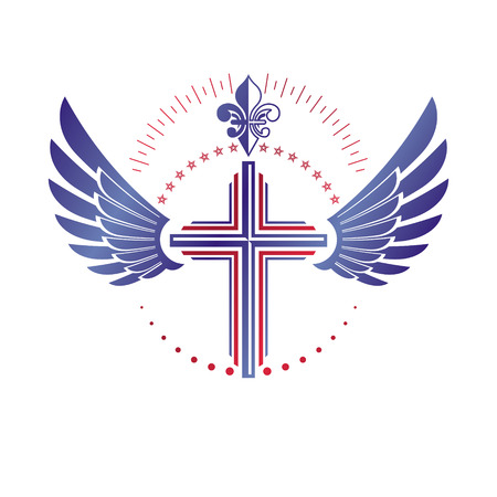 Cross of Christianity Religion emblem composed with bird wings and royal Lily flower. Heraldic Coat of Arms decorative logo isolated vector illustration. Guardian angel. Illustration