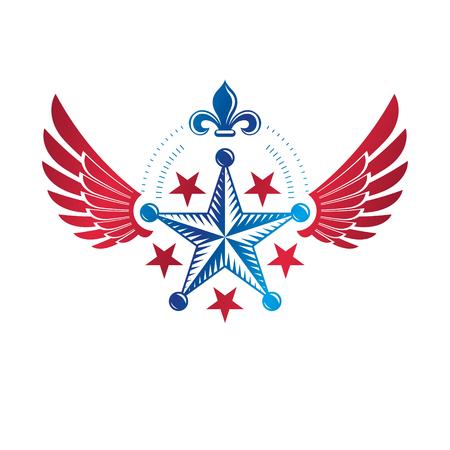 Winged ancient pentagonal Star emblem, the best. Heraldic vector design element decorated with Lily flower, premium symbol.  Retro style label, heraldry logo.