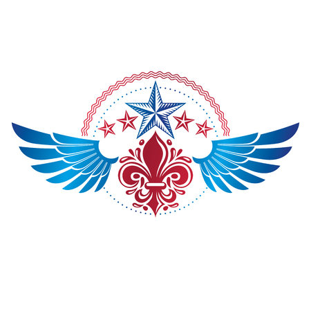 star award: Winged ancient pentagonal Star emblem, the best. Heraldic vector design element decorated with Lily flower, premium symbol.  Retro style label, heraldry logo.