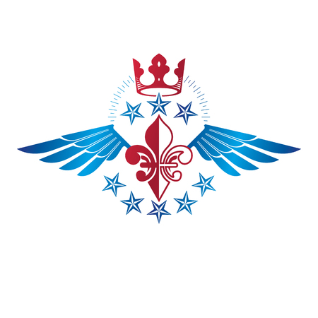 Winged ancient Star emblem decorated with imperial crown. Heraldic vector design element, 5 stars award symbol.  Retro style label, heraldry logo.