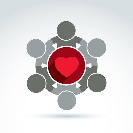 Vector donation symbol, charity association icon. Illustration of a red loving heart placed in a circle. Concept of assistance and volunteer. Illustration