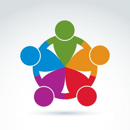 asociacion: Equipo internacional de negocios, comunidad social. Vector la ilustración de colores de la asociación, el concepto juntos.