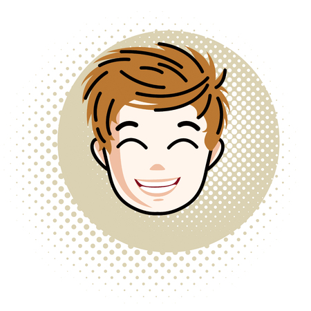 school age: Boy face, vector human head illustration, portrait. Red-haired teenager expressing positive emotions.