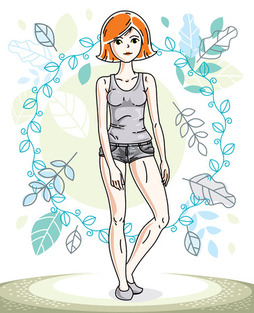 springtime: Happy pretty young redhead woman standing on background of spring landscape and wearing fashionable casual clothes. Vector character. Illustration