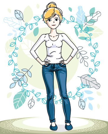 Happy pretty young blonde woman standing on background of spring landscape and wearing fashionable casual clothes. Vector character. Illustration
