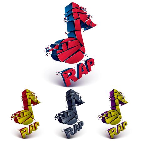 Conjunto de vectores de colorido 3d añicos notas musicales con motas y refracciones. la música del diseño faceta dimensiones demolido colección de símbolos. Tema de la música rap. Vectores