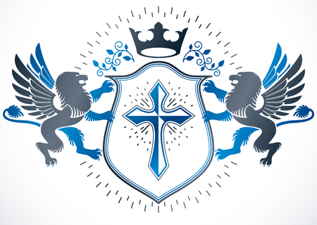 Classy emblem, vector heraldic Coat of Arms created using mythic gryphon, religious cross and imperial crown.