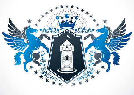 Classy emblem, vector heraldic Coat of Arms created using mythic Pegasus illustration, ancient castle and imperial crown. Illustration