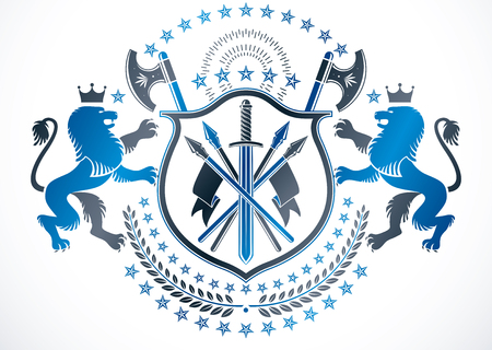 Classy emblem, vector heraldic Coat of Arms. Vector protection emblem made with king lion illustration, sharp spears and pentagonal stars.