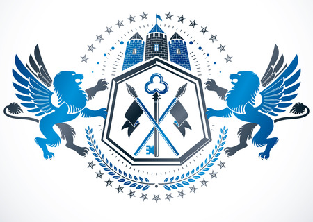 Classy emblem, vector heraldic Coat of Arms created using ancient tower and mythic gryphons. Illustration