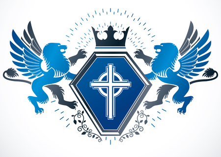 lion wings: Classy emblem, vector heraldic Coat of Arms created using mythic gryphon, religious cross and imperial crown.