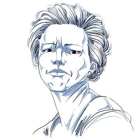 Vectortekening van boze vrouw met modieus kapsel. Zwart en wit portret van aantrekkelijke dame uiten twijfel, ongelovige. Stock Illustratie