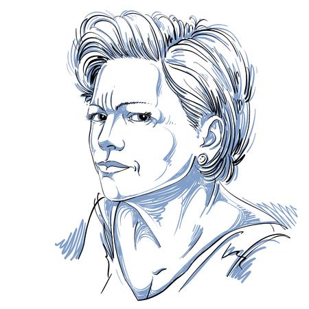 Vector portret van aantrekkelijke vrouw, illustratie van goed uitziende vrouwelijke uiten twijfel. Persoon emotionele gezichtsuitdrukking, ongelovige idee. Stock Illustratie