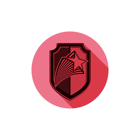 Heraldry theme conceptual icon, protection shield isolated on white. Armed forces idea, graphical coat of arms.