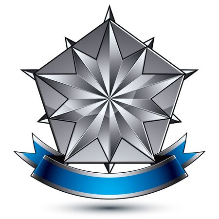 Heraldic 3d glossy blue and gray icon - can be used in web and graphic design, complicated silver star placed over shield magnificent element with elegant ribbon
