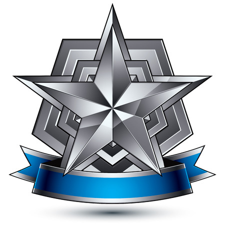 Heraldic 3d glossy blue and gray icon - can be used in web and graphic design, five-pointed silver star placed over shield magnificent element with elegant ribbon