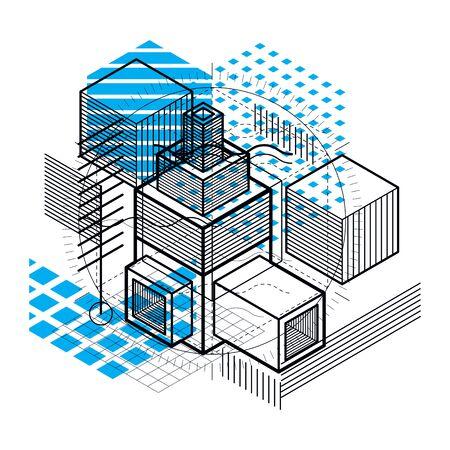 perspectiva lineal: resumen de antecedentes isométrica con formas dimensionales lineales, elementos de malla de vectores 3d. Composición de cubos, hexágonos, cuadrados, rectángulos y diferentes elementos abstractos. Vectores