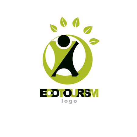 green environment: Vector illustration of excited abstract  man with raised reaching up. Ecotourism conceptual logo. Green tourism symbol. Wanderlust and countryside vacation icon.