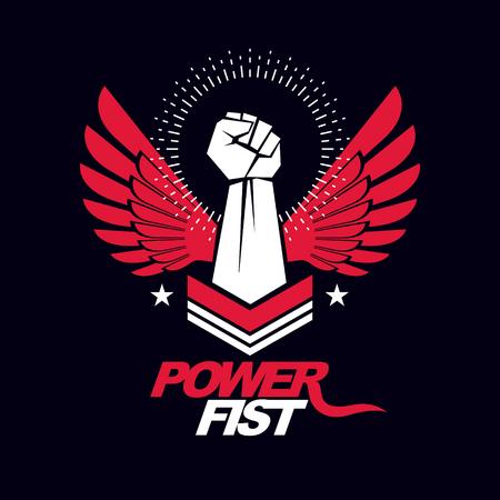 Strong fist of a muscular man vector illustration. Best fighter vector symbol, triumph concept. Illustration