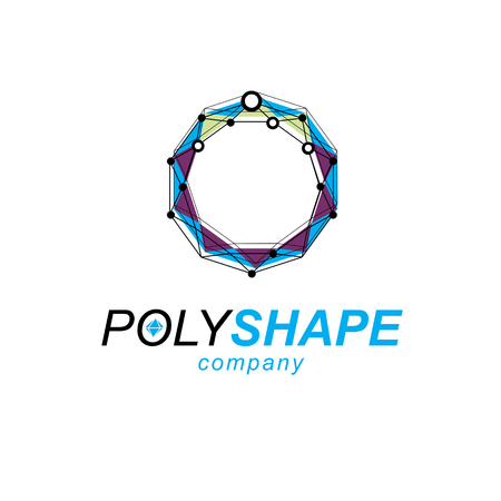 New technology logotype. Isometric abstract vector low poly shape, digital science theme illustration. Illustration