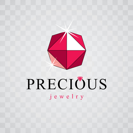 Vector faceted gemstone illustration with sparkles, polygonal. Brilliant jewelry sign emblem, logo. Illustration