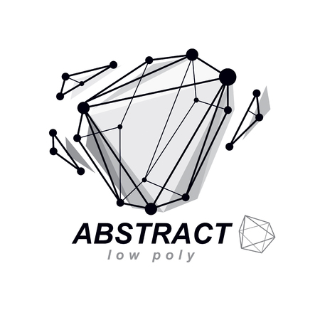 Abstract three-dimensional shape, vector design element. Innovation technologies abstract emblem. Illustration